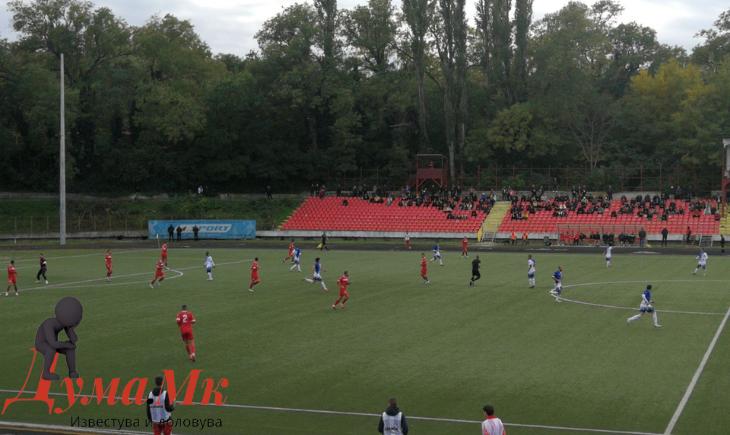 """На градски стадион """"Зоран Паунов"""" пораз на """"Борец"""" од """"Академија Пандев"""",решавачкиот гол по сомнителен недосуден прекршок"""